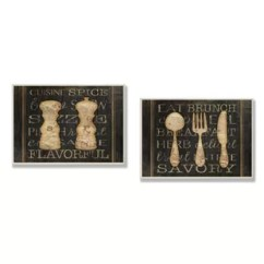 Pictures For Kitchen Walls Diy Pull Out Shelves Wayfair Salt And Pepper Utensils 2 Piece Textual Art Wall Plaque Set