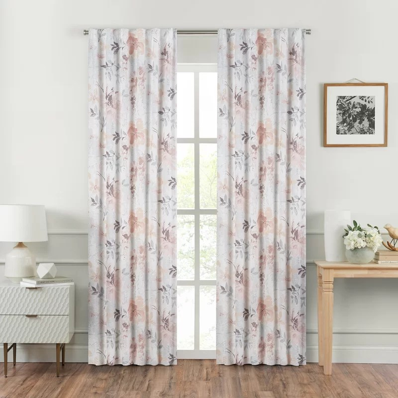 liana panel cotton floral semi sheer curtain panels