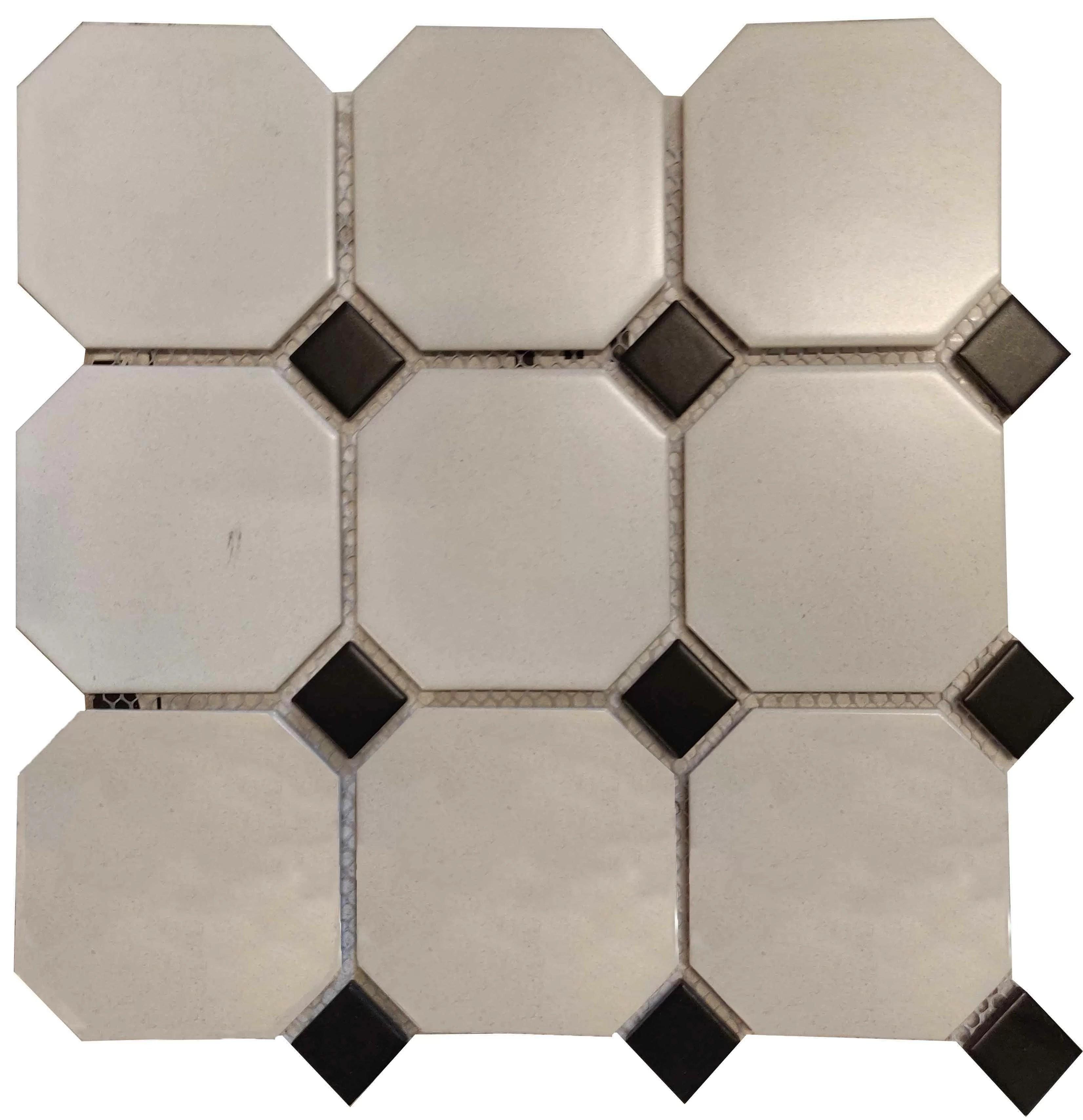 octagon doted 12 x 12 ceramic mosaic tile