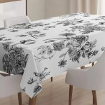 East Urban Home Ambesonne Black And White Tablecloth Vintage Floral Pattern Victorian Classic Royal Inspired New Modern Art Rectangular Table Cover For Dining Room Kitchen Decor 52 X 70 Black And White