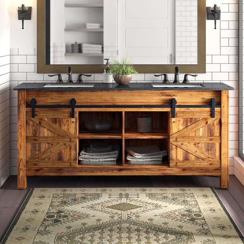 Millwood Pines Estancia Barn Door 72 Double Bathroom Vanity Set Reviews Wayfair Ca