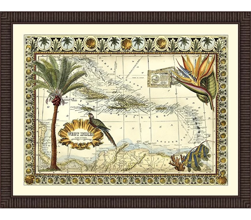Trends Tropical Map of West Indies Framed Graphic Art