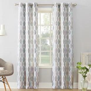 skrolan floral semi sheer grommet single curtain panel