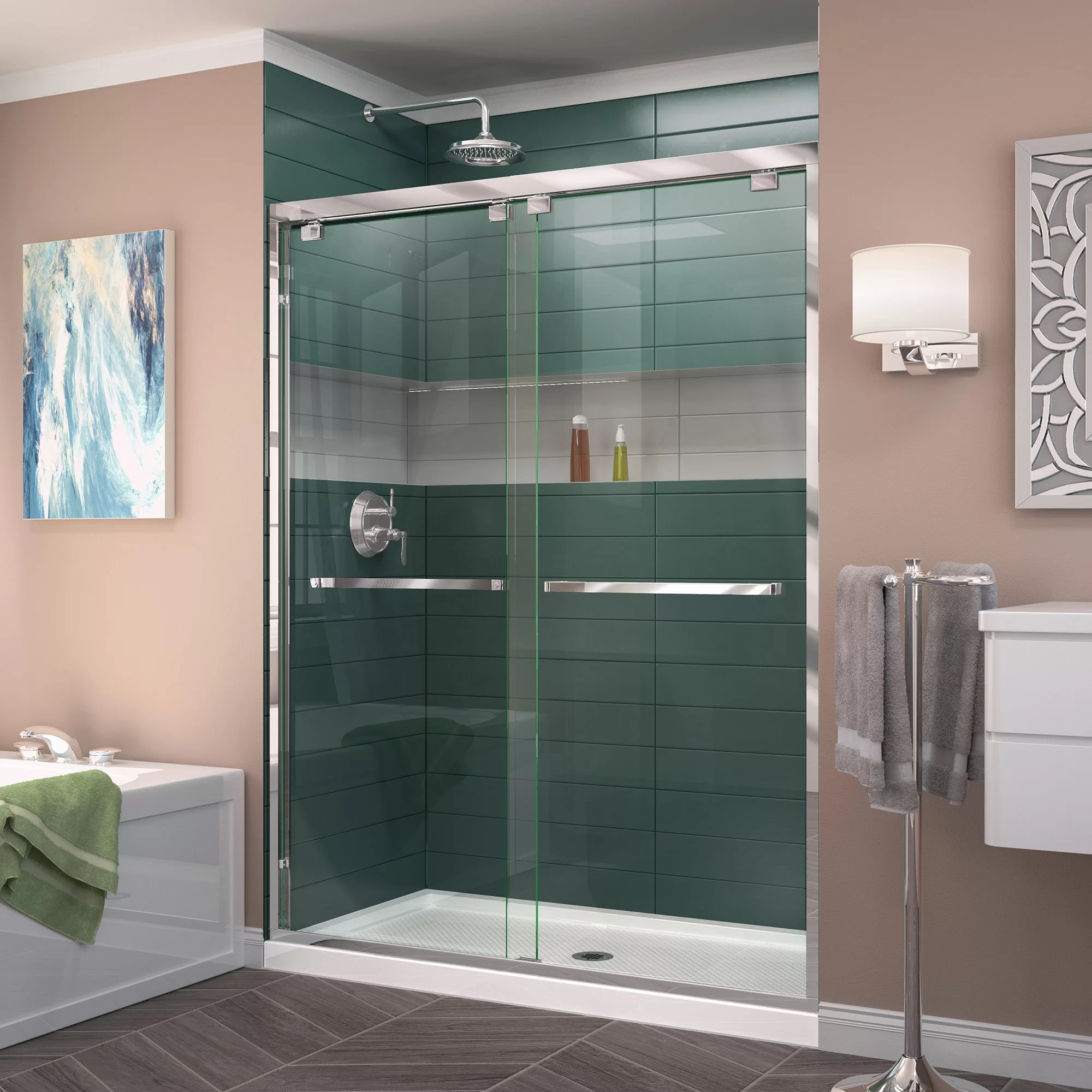 Encore Bypass Semi Frameless Shower Door With Clearmax Technology