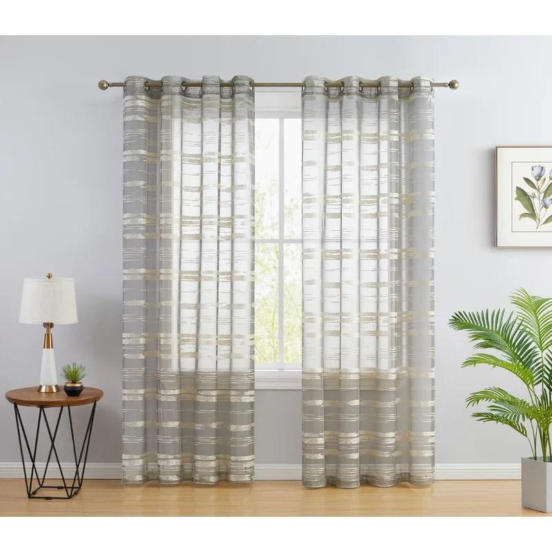broadway striped sheer grommet curtain panels