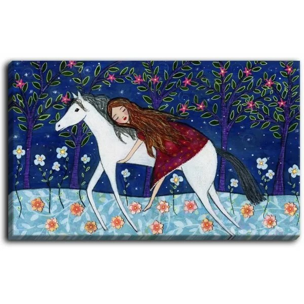 Horse Dreamer by Sascalia Painting Print on Wrapped Canvas Size: 12 H x 16 W x 1.5 D