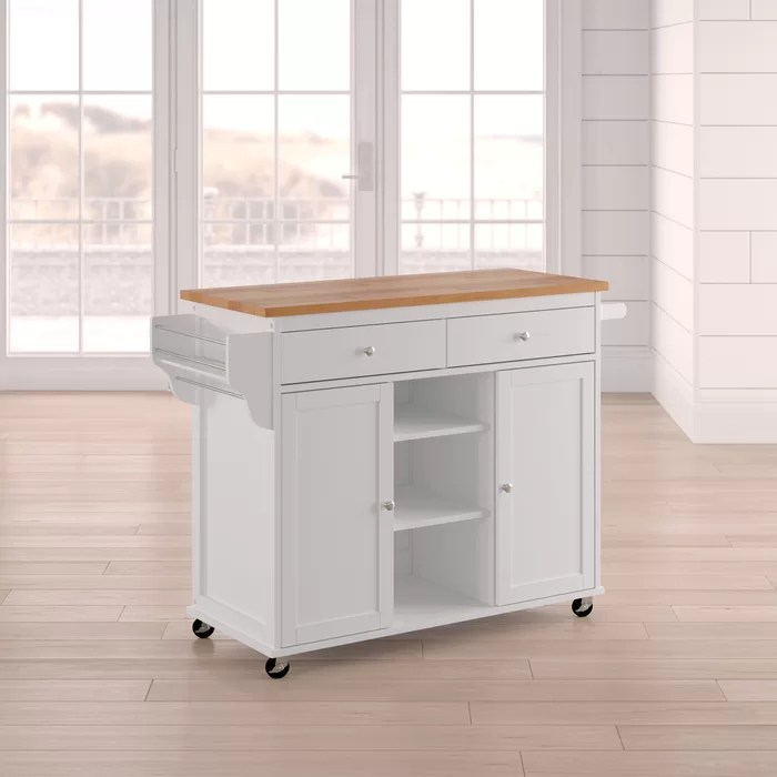 modern kitchen cart shabby chic decor beachcrest home wilson island with wood top reviews