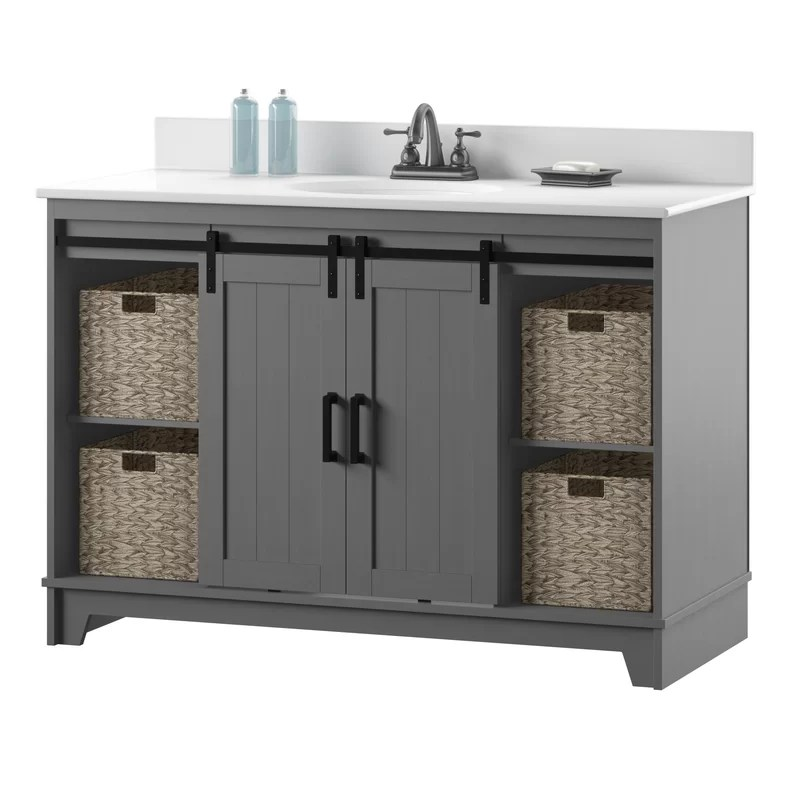 Gracie Oaks Trogdon Sliding Barn Door 49 Single Bathroom Vanity Set Reviews Wayfair Ca