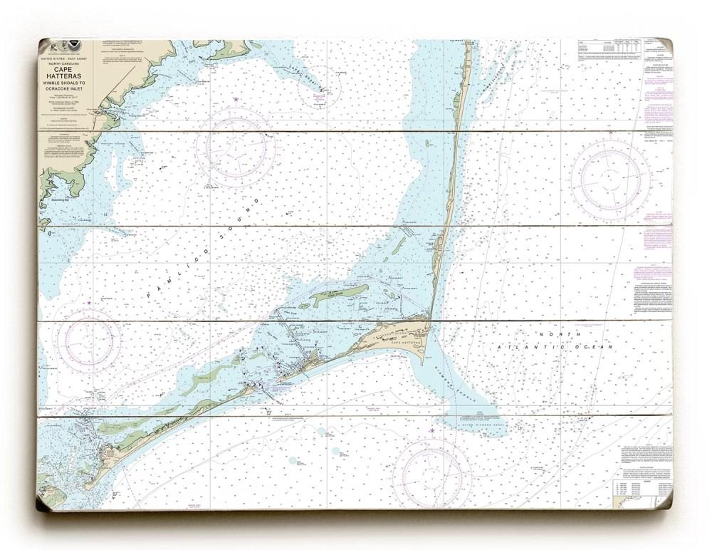 medium resolution of longshore tides nc cape hatteras wimble shoals to ocracoke inlet nc nautical chart sign graphic art print on wood wayfair