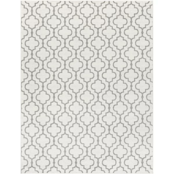House of Hampton Shonnard Trellis Gray/White Area Rug
