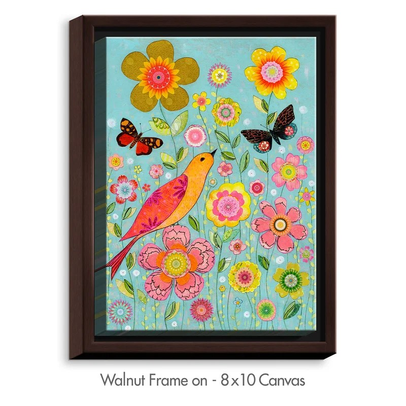 Flower Meadow by Sascalia Painting Print on Wrapped Framed Canvas Size: 41.75 H x 31.75 W x 1.75 D Frame Color: Walnut