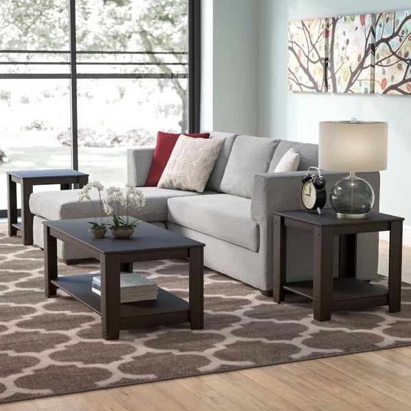 andover mills cochrane 3 piece coffee table set & reviews | wayfair