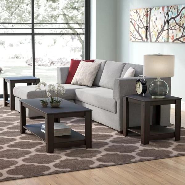 andover mills cochrane 3 piece coffee table set & reviews | wayfair