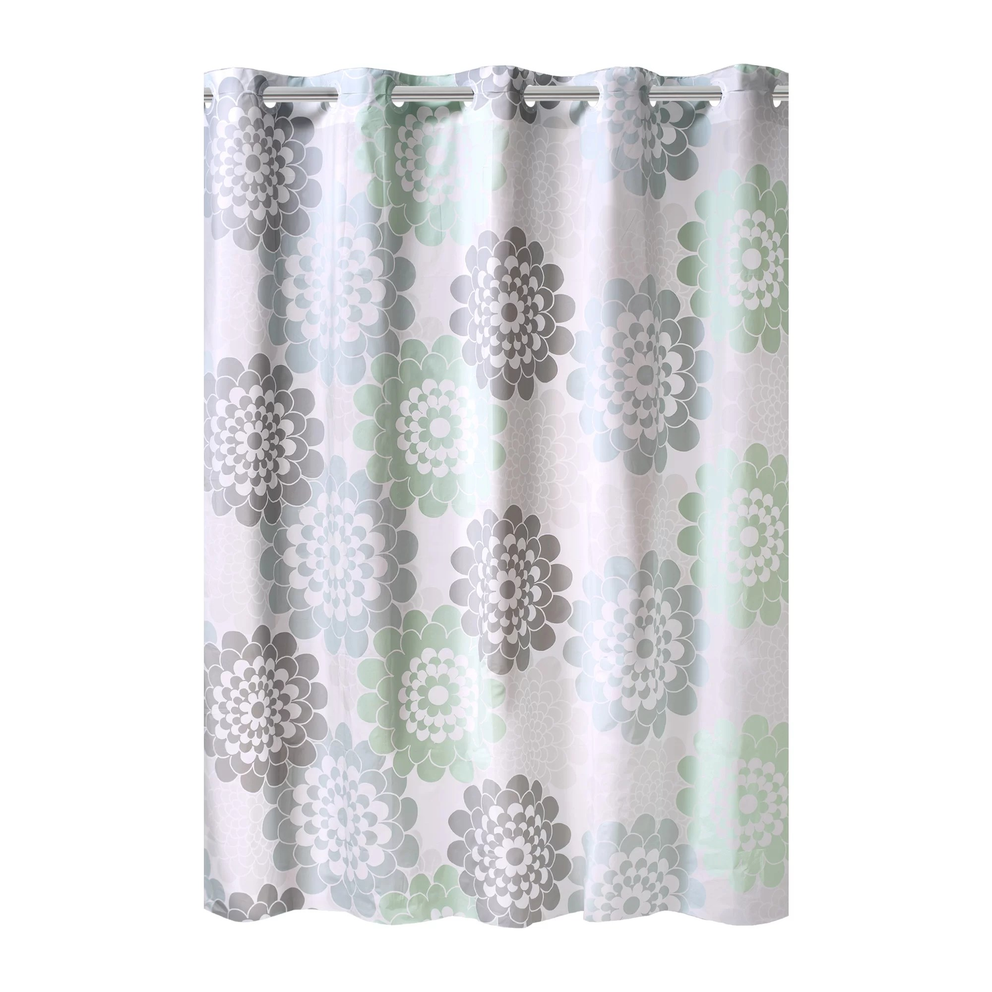 hookless flower print peva shower curtain