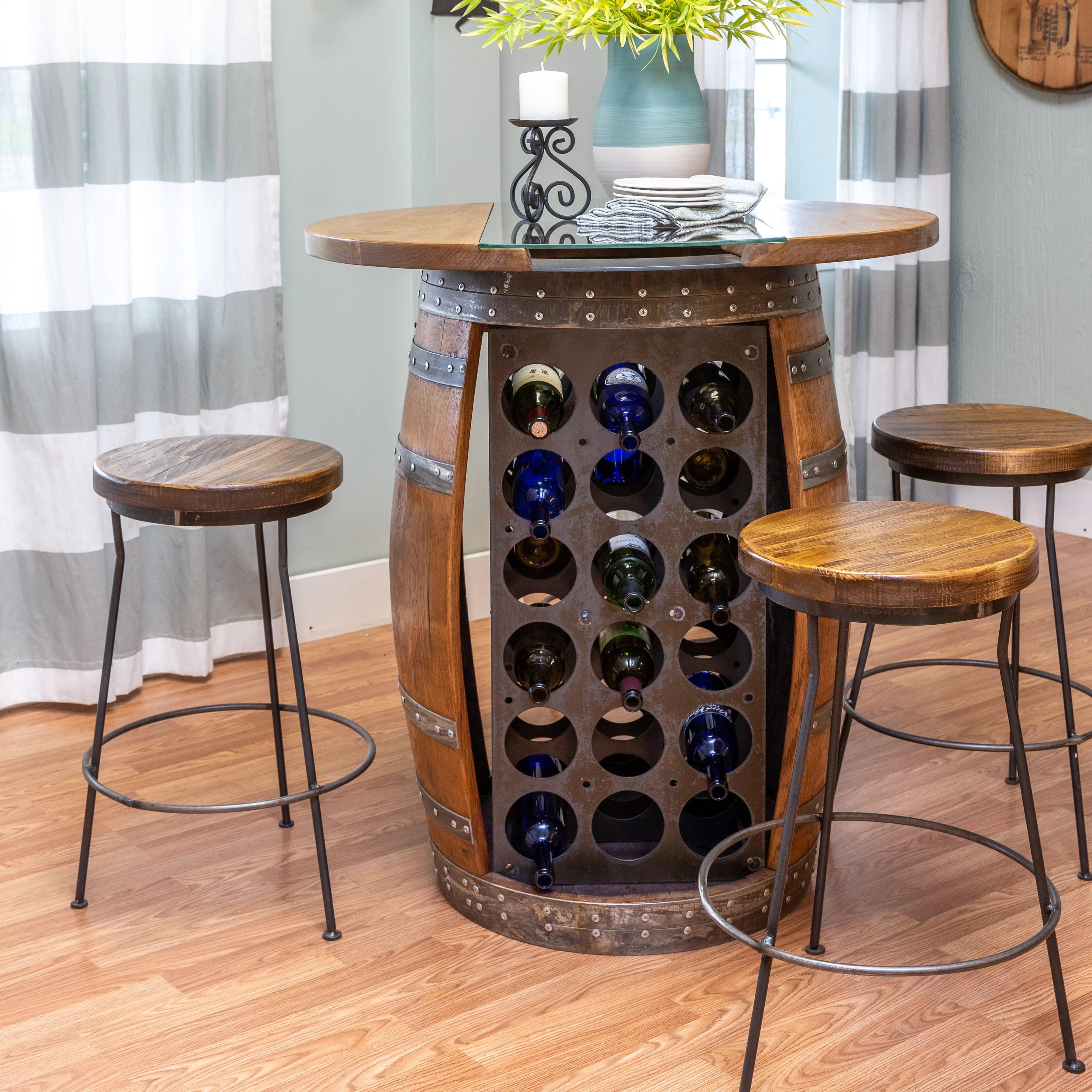 loon peak mario live edge and glass top wine barrel bar set wayfair