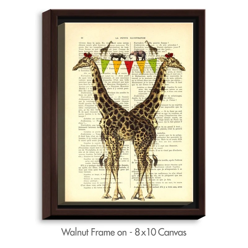 Giraffes by Madame Memento Graphic Art on Wrapped Framed Canvas Size: 21.75 H x 17.75 W x 1.75 D Frame Color: Walnut