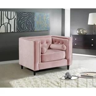velvet armchair pink nursery rocker chair uk light wayfair quickview