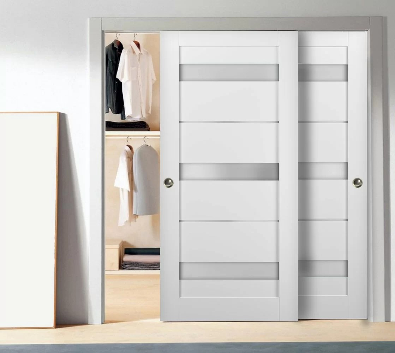 quadro glass sliding closet doors with installation hardware kit