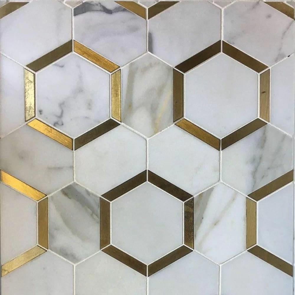 marble honeycomb mosaic wall floor tile