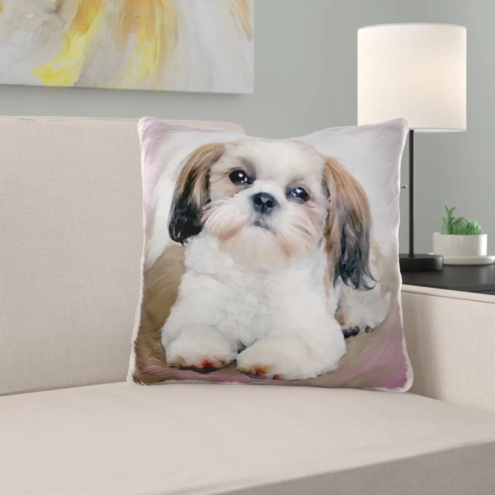 mcgruder shih tzu puppy pillow cover