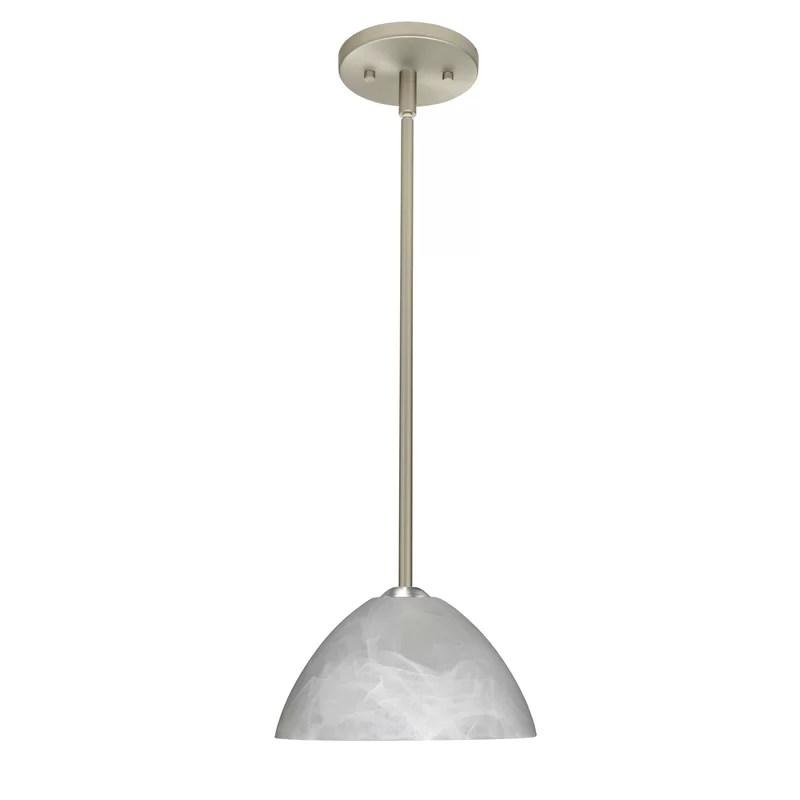 Tessa 1-Light Dome Pendant Finish: Satin Nickel Glass Shade: Marble Bulb Type: LED
