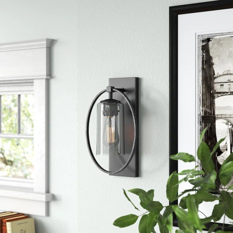pitchford 1 light dimmable antique black armed sconce