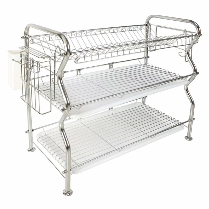 3 tier draining stainless steel dish rack