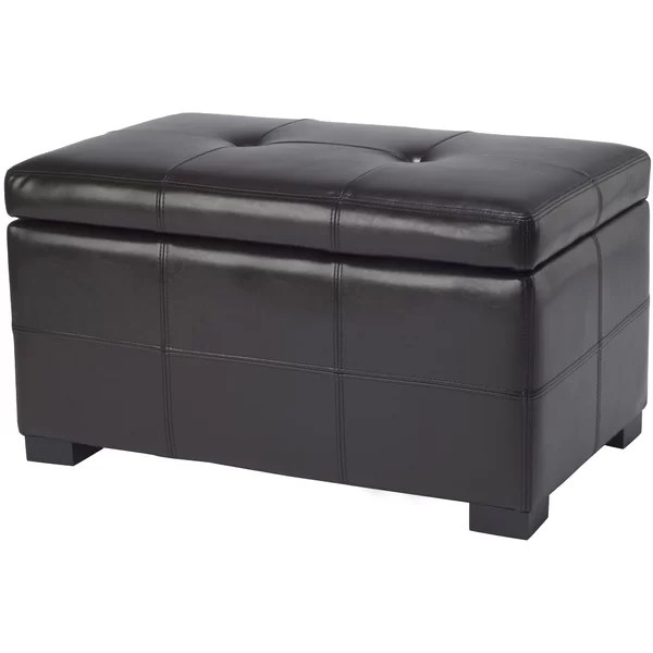 maiden 30 1 wide faux leather tufted rectangle storage ottoman