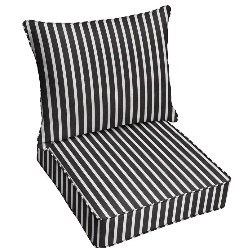 2 piece deep seating striped indoor outdoor sunbrella dining chair cushion set