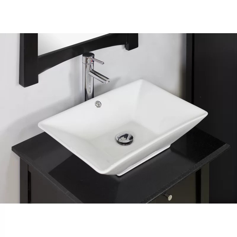 Ceramic Rectangular Vessel Bathroom Sink with Overflow Hardware Finish: Chrome