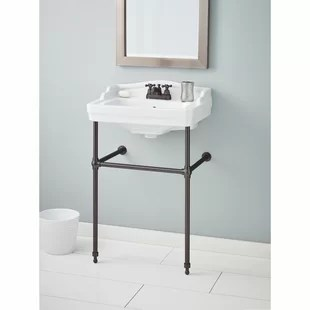 essex metal 24 console bathroom sink with overflow