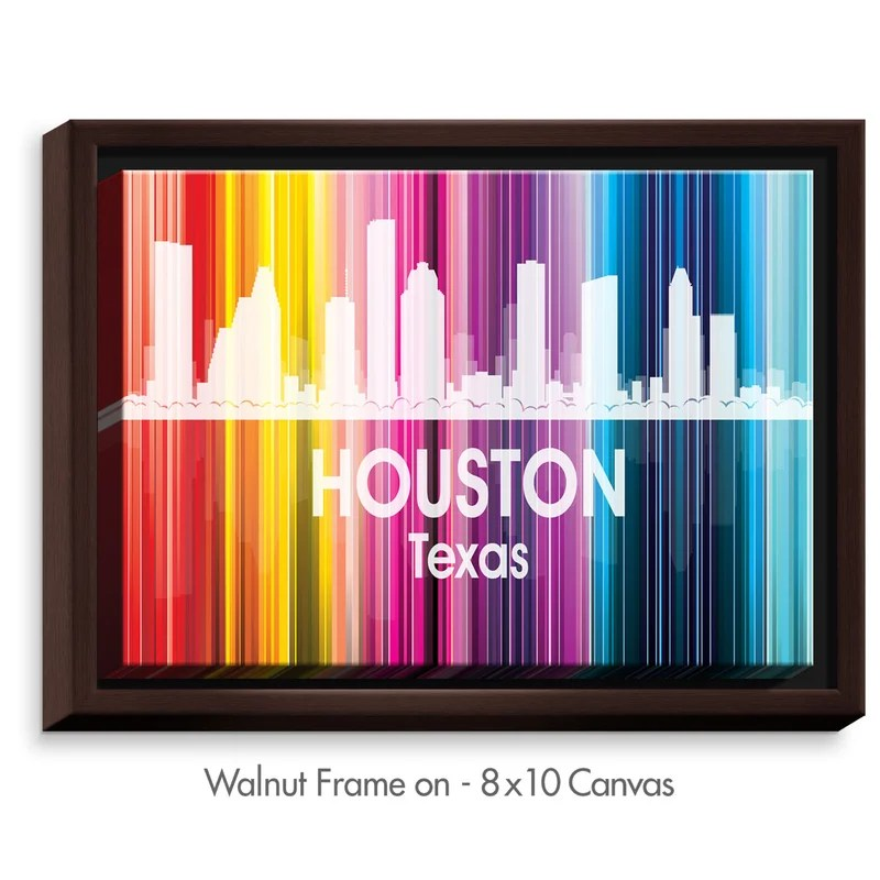 City II Houston Texas by Angelina Vick Graphic Art on Wrapped Framed Canvas Size: 13.75 H x 17.75 W x 1.75 D Frame Color: Walnut