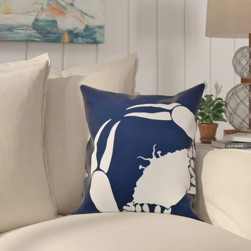 Shirley Mills Crab Dip Animal Print Throw Pillow Size: 26 H x 26 W Color: Navy Blue