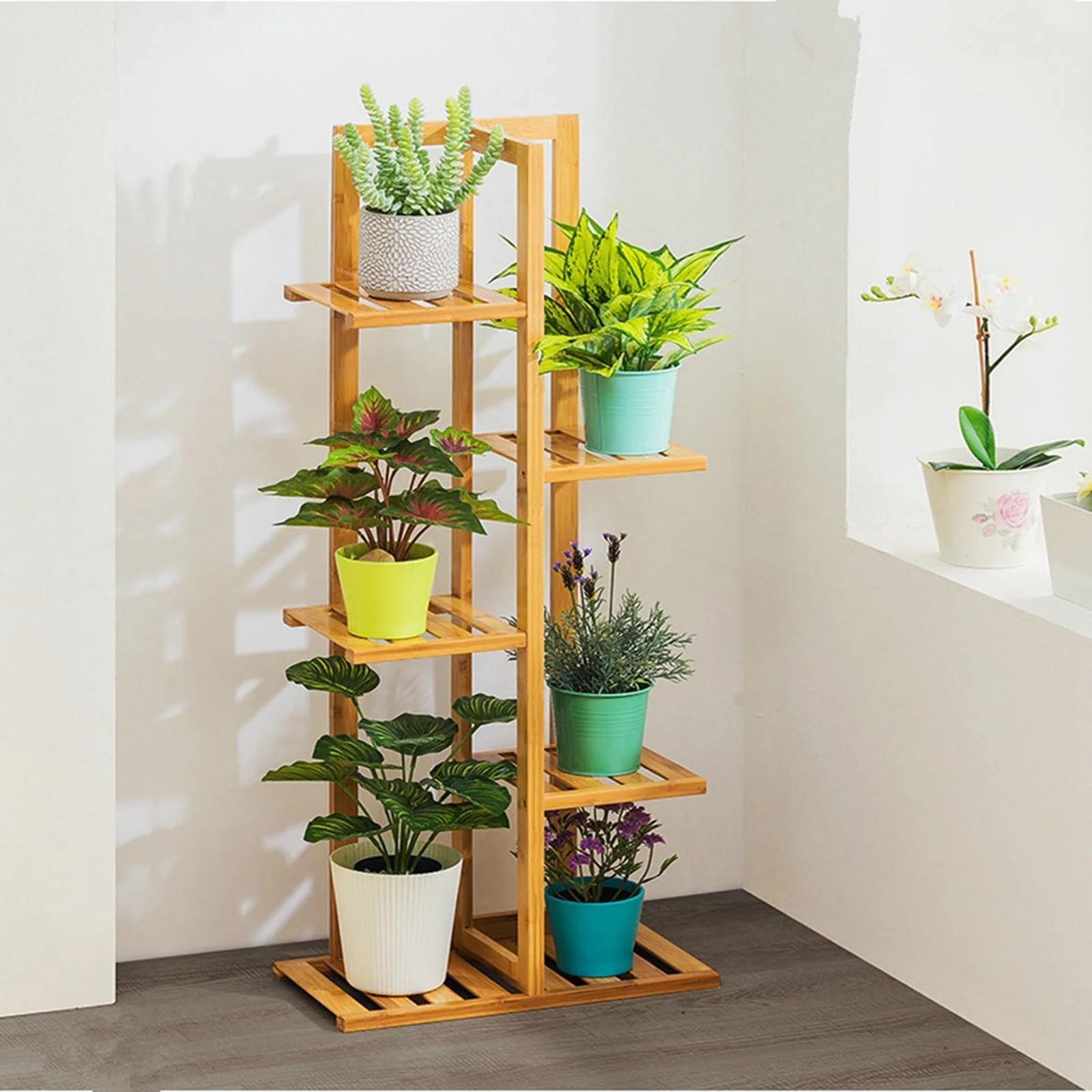 bamboo plant stand indoor outdoor multiple flower pot holder shelf rack