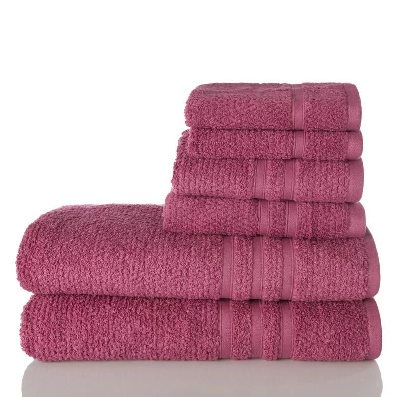 Zero Twist 6 Piece 100%Cotton Towel Set Color: Mauve