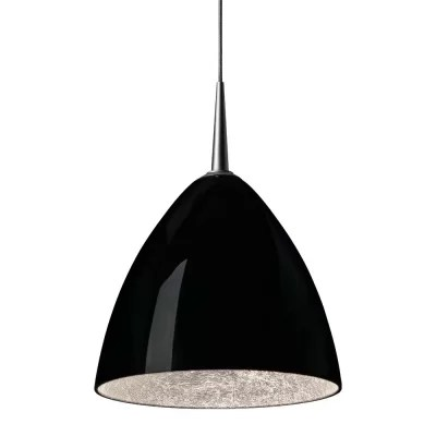 Cleo 1-Light Cone Pendant Color: Bronze Shade Color: Black with Gold inner