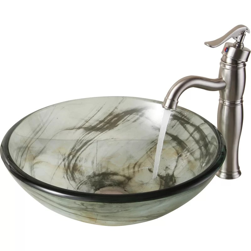 elite double layered clear tempered glass vessel bathroom sink with swirls and pop up drain and mounting ring