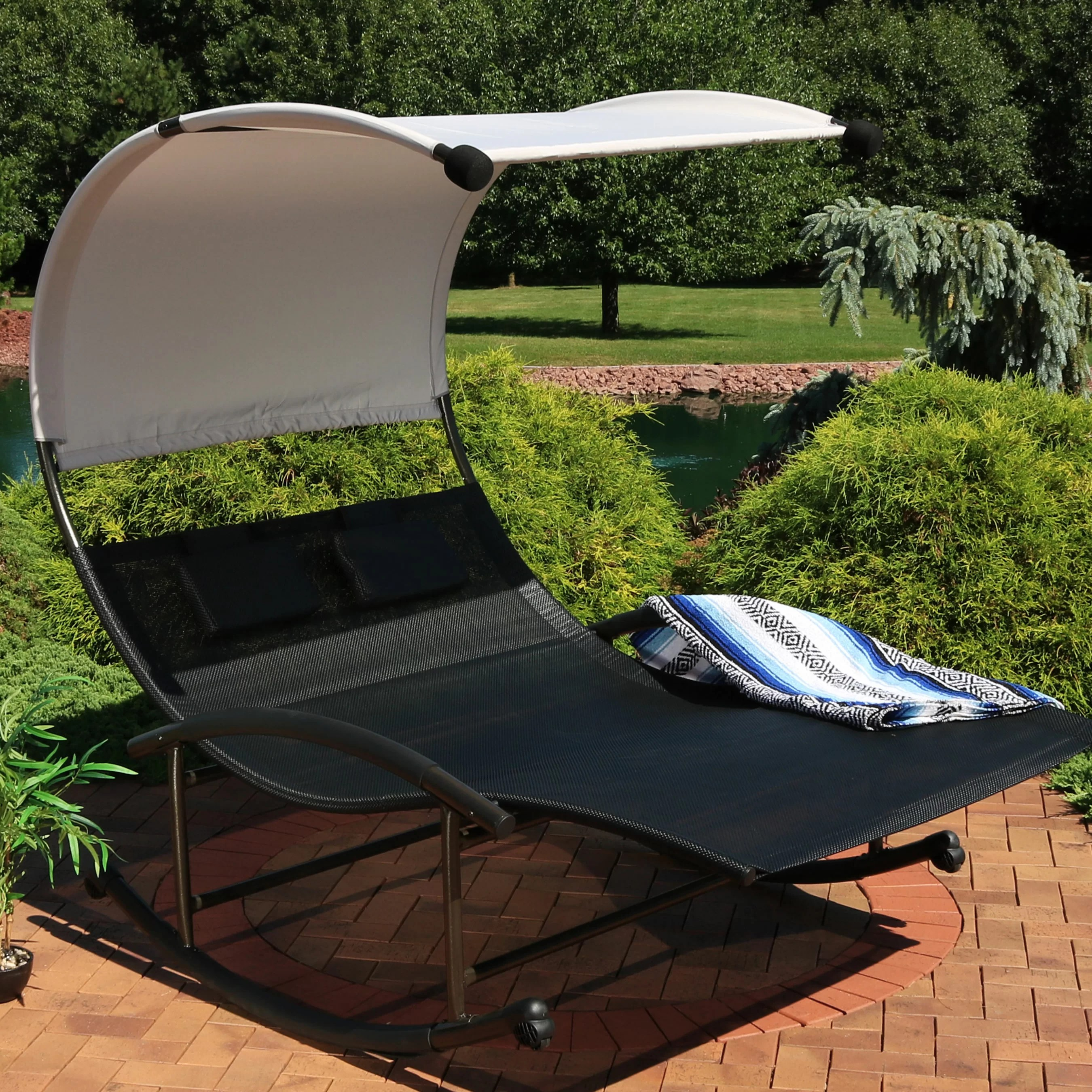 chatteris rocking double chaise lounge with cushion