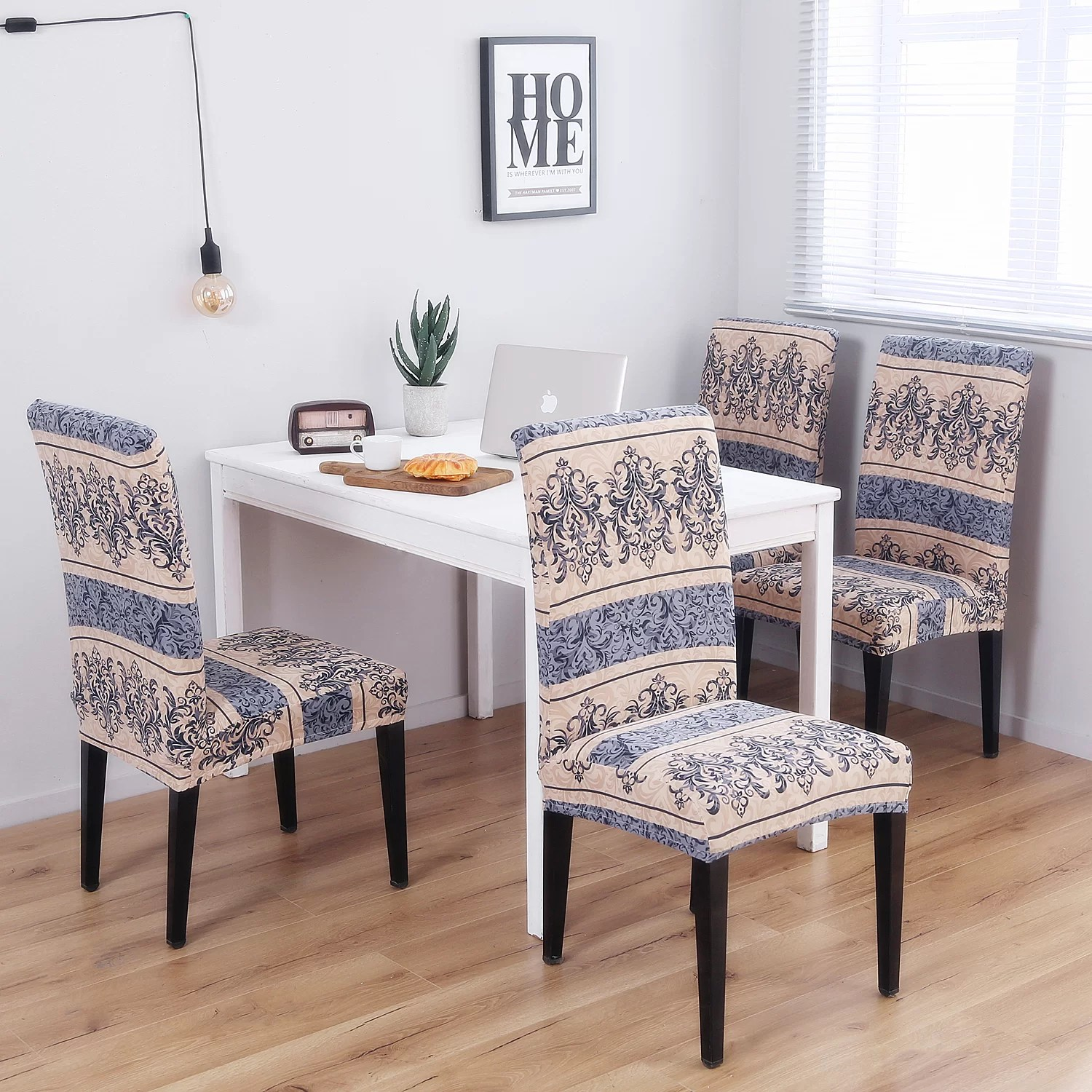Dining Chair Slipcover Pattern Soft Elegant Spandex Fabric Stretch Box Cushion Dining Chair Slipcover