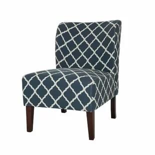 blue pattern accent chair childrens wooden rocking chairs sale light wayfair modern slipper