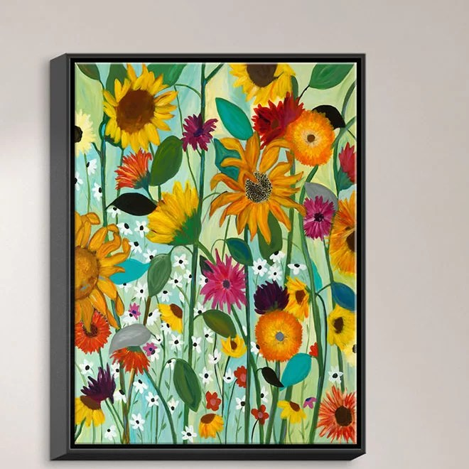 Sunflower House by Carrie Schmitt Painting Print on Wrapped Framed Canvas Size: 41.75 H x 31.75 W x 1.75 D Frame Color: Black