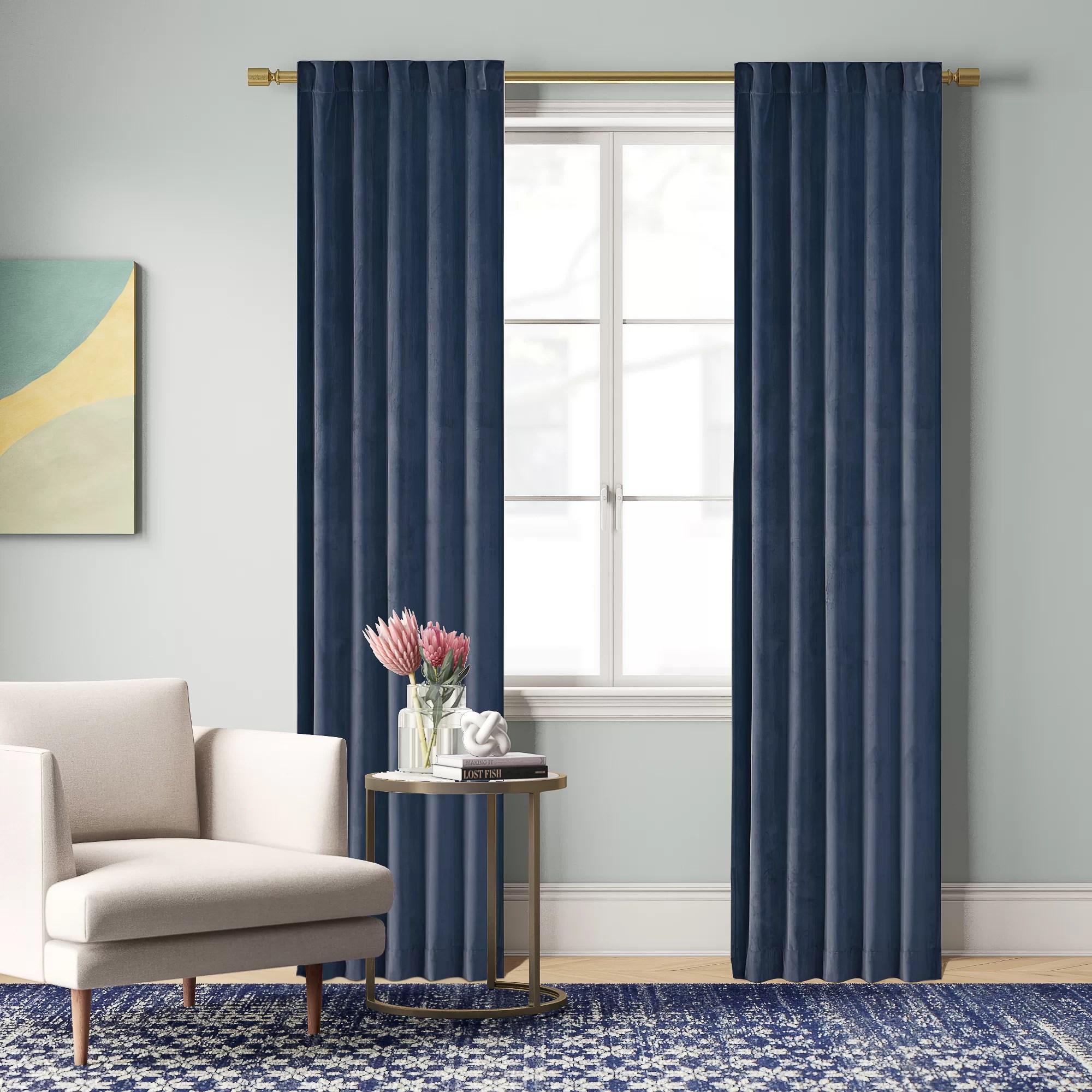 aurora poly velvet solid color room darkening rod pocket curtain panels