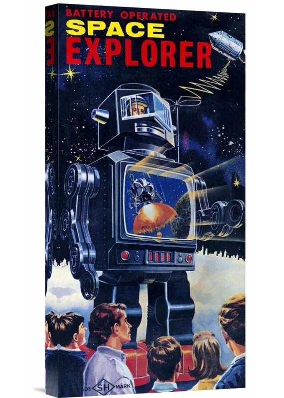 Space Explorer Robot by Retrobot Vintage Advertisement on Wrapped Canvas