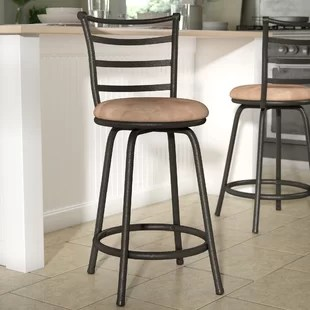 island stools for kitchen design services online bar wayfair deandre adjustable height swivel stool