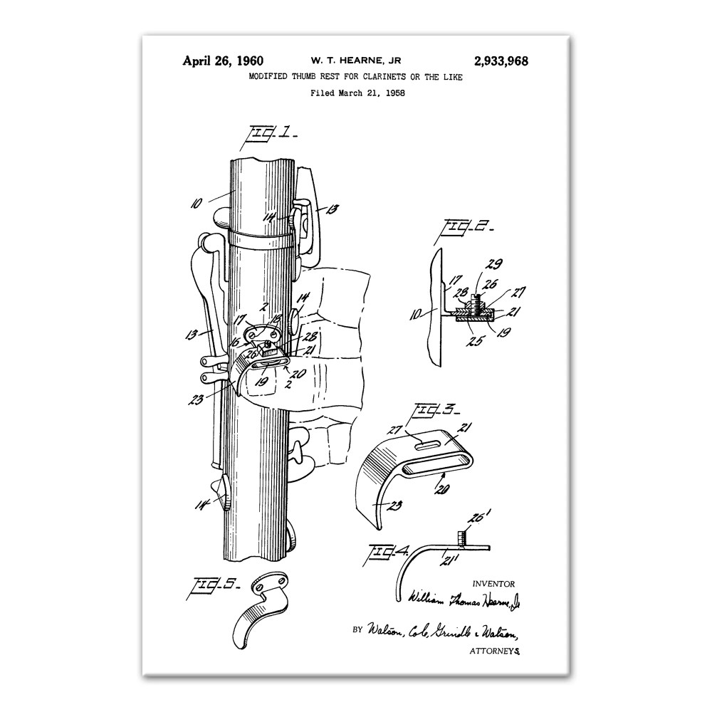 medium resolution of williston forge vintage clarinet patent graphic art print on canvas wayfair ca