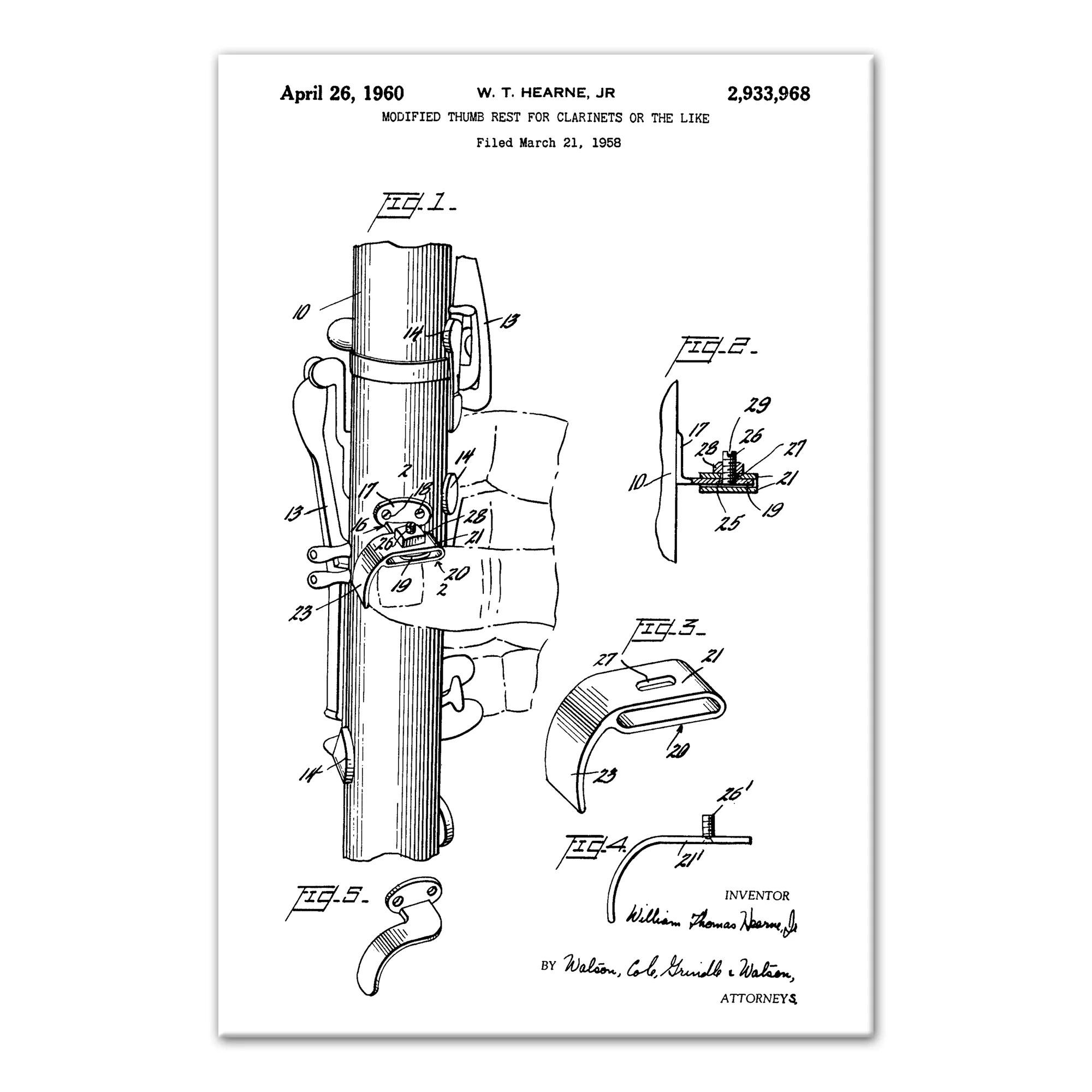 hight resolution of williston forge vintage clarinet patent graphic art print on canvas wayfair ca