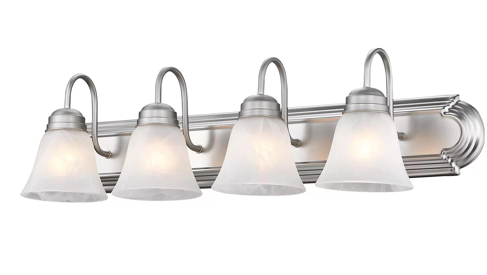 Winston Porter Carsdale Bathroom 4 Light Satin Nickel Vanity Light Reviews Wayfair
