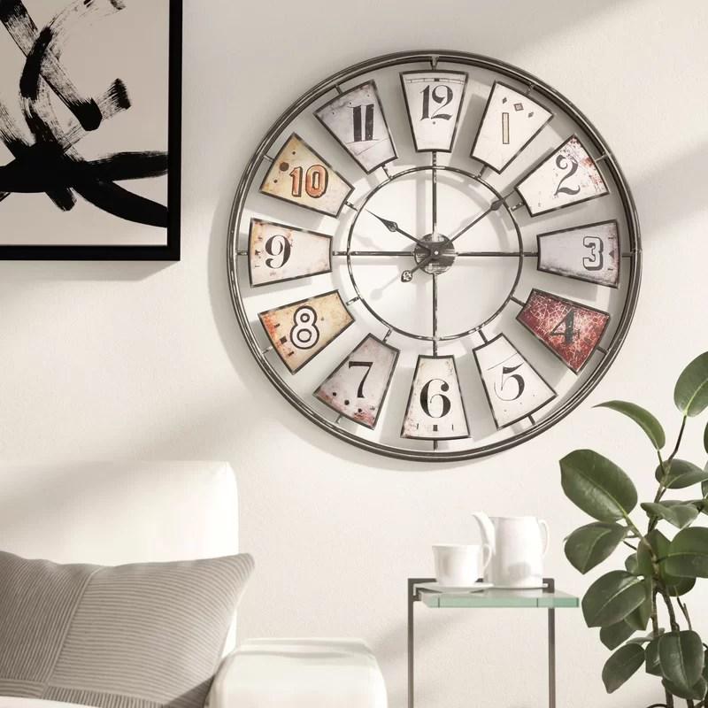 August Grove Oversized 35 Wall Clock Reviews Wayfair