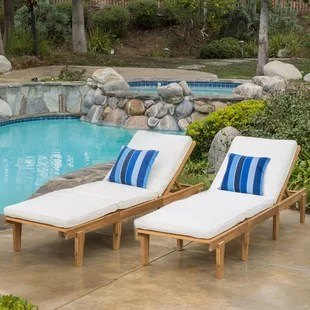 poolside lounge chairs black leather high back dining in pool chaise wayfair ardsley reclining with cushion set of 2