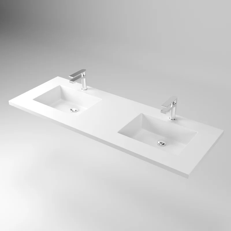 72 double bathroom vanity top in white matte with sink